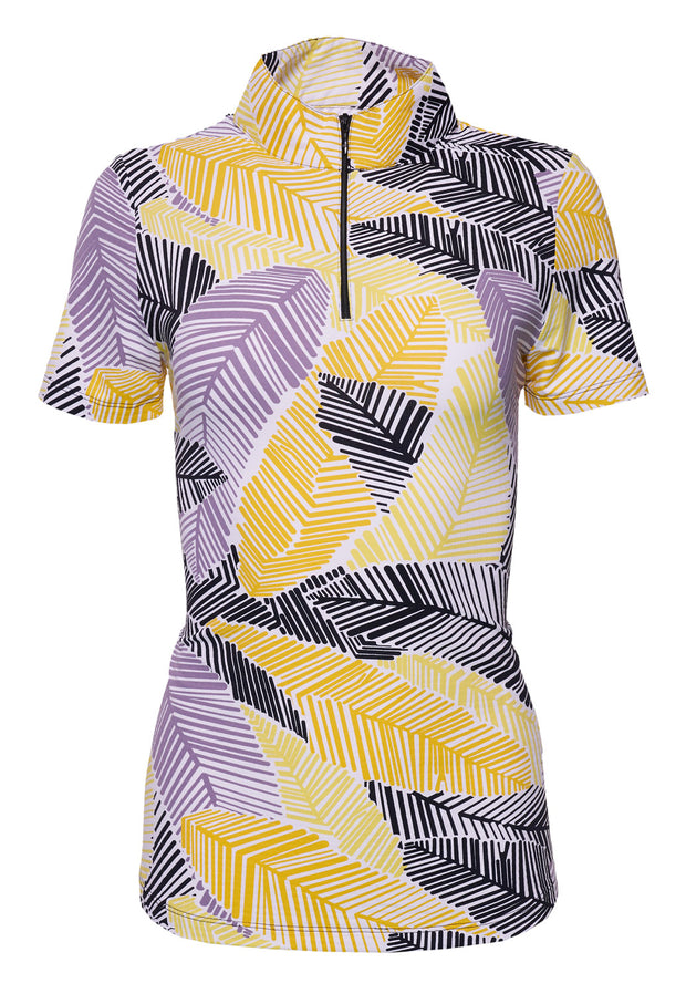 Marley Print Short Sleeve Mock Neck Top 17181