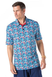 Short Sleeve Polo with Printed Pattern 94109 - final sale