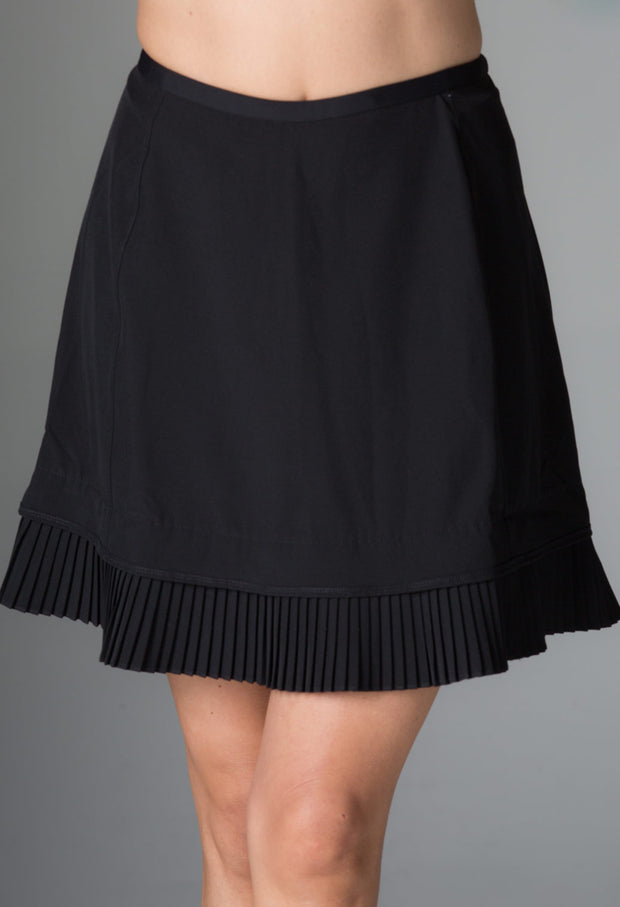 "Solid Crystal Pleat Skort 18"" - 24000 Black - Front"