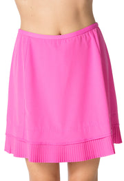 "Solid Crystal Pleat Skort 18"" - 24000 Hot Pink - Front"