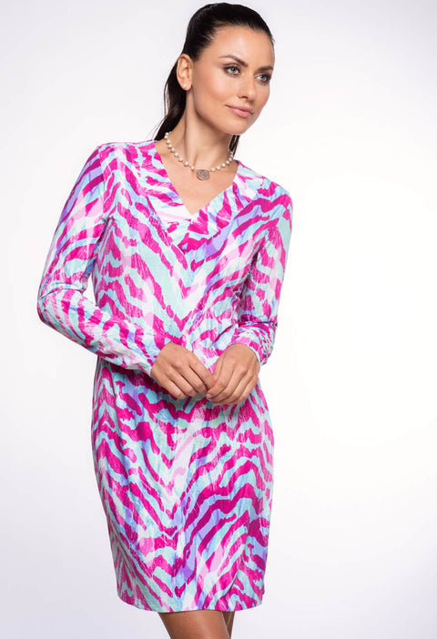 Summer Safari Print V-Neck Dress 53075 - final sale