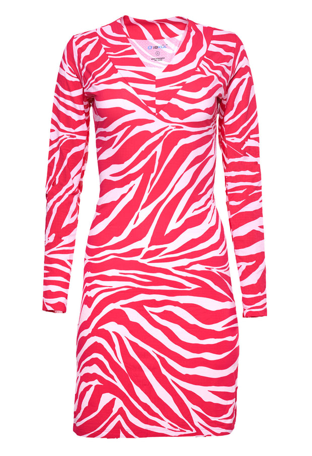 Zazu Print Long Sleeve V-Neck Dress - 53291