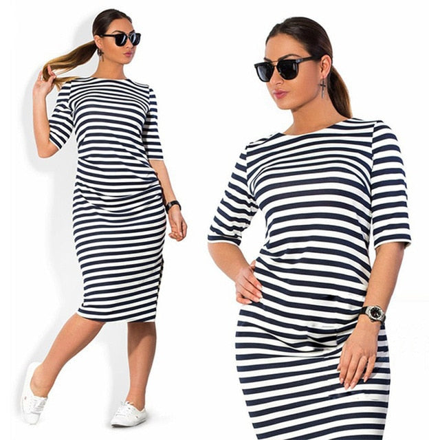 Large Size Spring Summer Dress Big Size Dress White Black Striped Dresses Plus Size Women Clothing Belt Vestidos