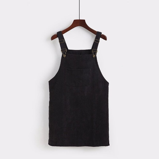 2019 Women Retro Corduroy Dress Autumn Spring Suspender Sundress Sarafan Loose Vest Overall Dress