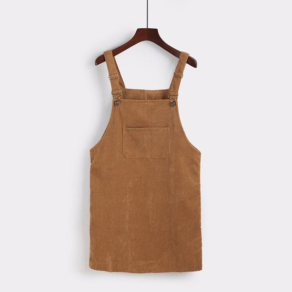 2019 Women Retro Corduroy Dress Autumn Spring Suspender Sundress Sarafan Loose Vest Overall Dress - Kessuavo