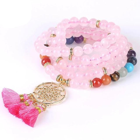 Bracelet Attrape Rêve <br> Quartz Rose - le-monde-des-attrapes-reves