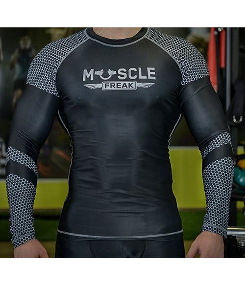 "Muscle Freak Rashguard ""BLACK & SILVER CELLS"" - Muscle Freak"