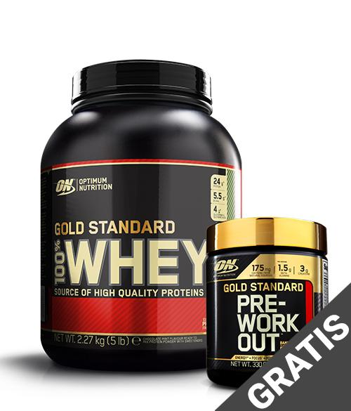 Optimum Nutrition Gold Standard 100% Whey 2,3kg + GRATIS GS preworkout 30serv - Muscle Freak