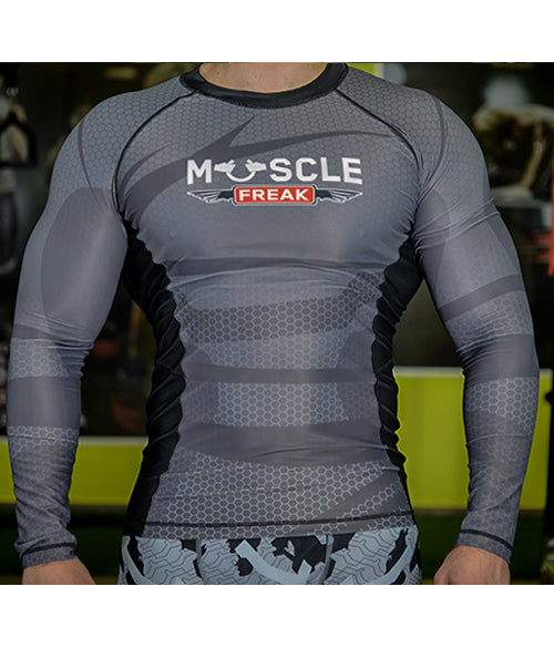 "Muscle Freak Rashguard ""CARBON SILVER"" - Muscle Freak"