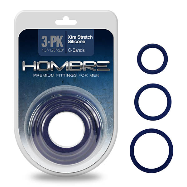 Hombre Snug Fit Thin C-Rings - Navy Blue Cock Rings - Set of 3 Sizes