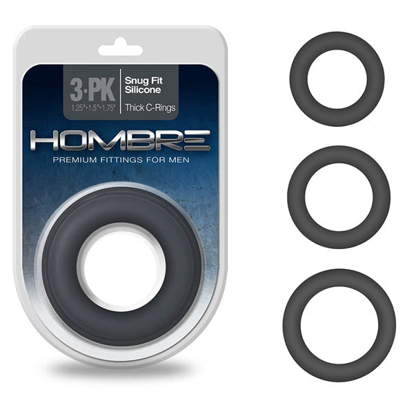 Hombre Snug Fit Thick C-Rings - Charcoal Grey Cock Rings - Set of 3 Sizes