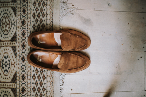 luxurious brown suede loafers