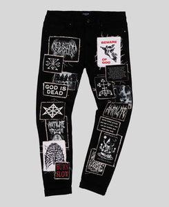 Eradication Patchwork Skinny Jeans - The Anti Life Ltd