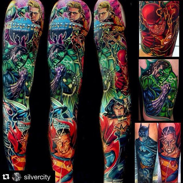 Justice League Sleeve Done By #PrimalFamily Member Kirt