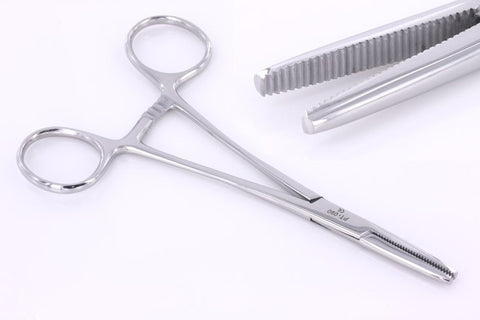 FLAT NOSE Hemostat Tool Designed by Shawn O'Hare for Dermal Anchor Insertion - PrimalAttitude.com - 1