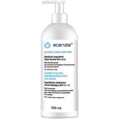 Acenzia Gel Hand Sanitizer 500ml (6 or 12 Count