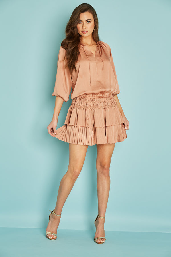 Palermo Pleat Mini Dress- Sunset