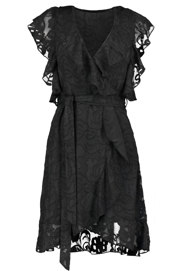 Pippa Ruffle Sleeve Dress- Black Ibiza Burnout