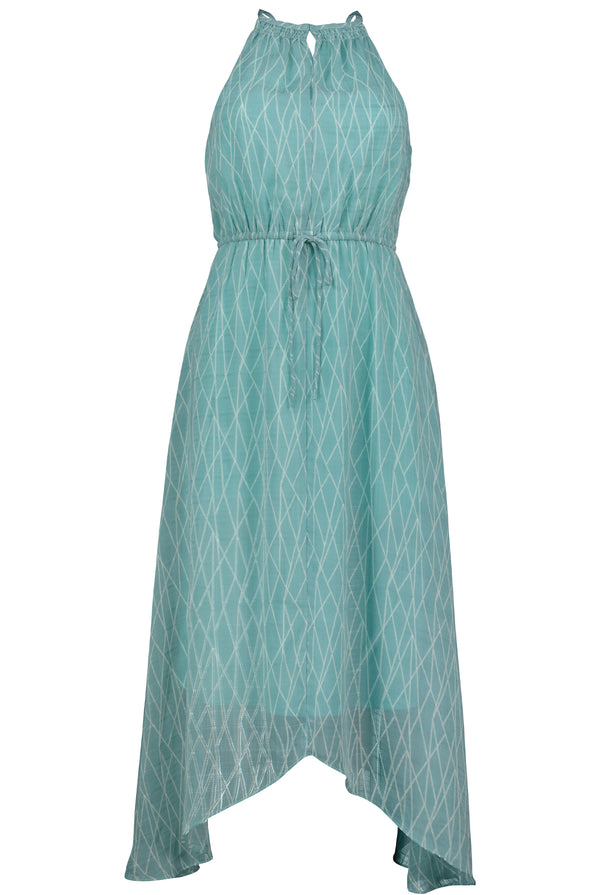 Charlize Hanky Hem Dress- Sea Glass Positano Print