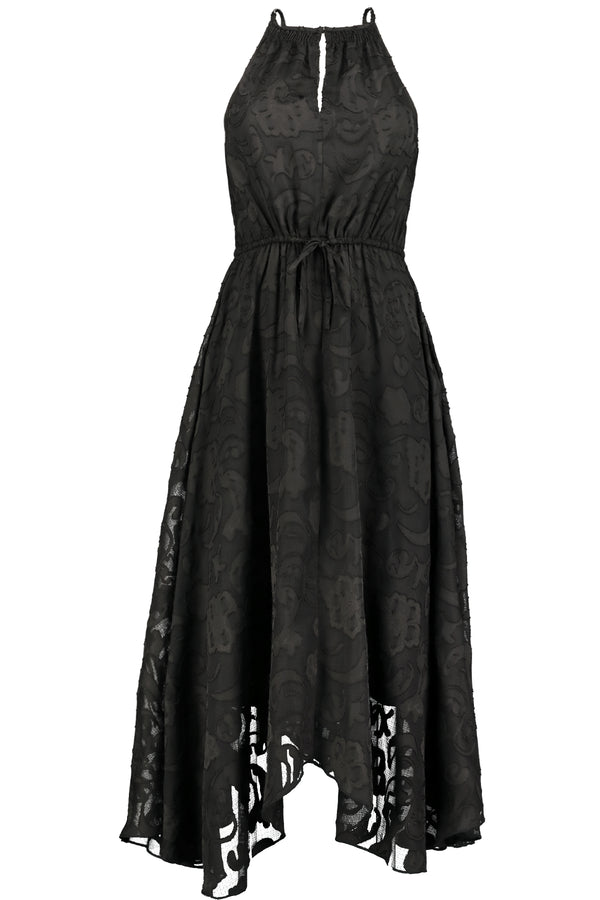 Charlize Hanky Hem Dress- Black Ibiza Burnout