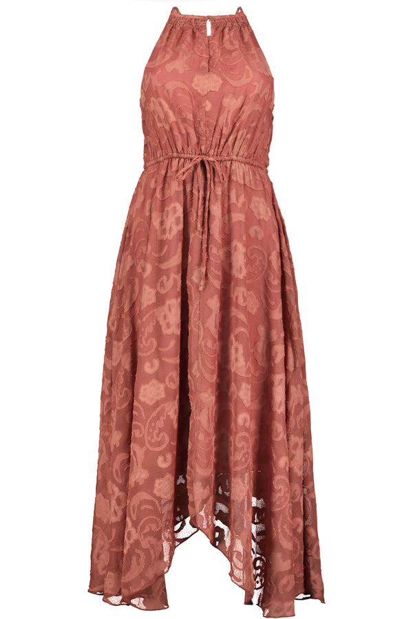 Charlize Hanky Hem Dress- Sunset Ibiza Burnout