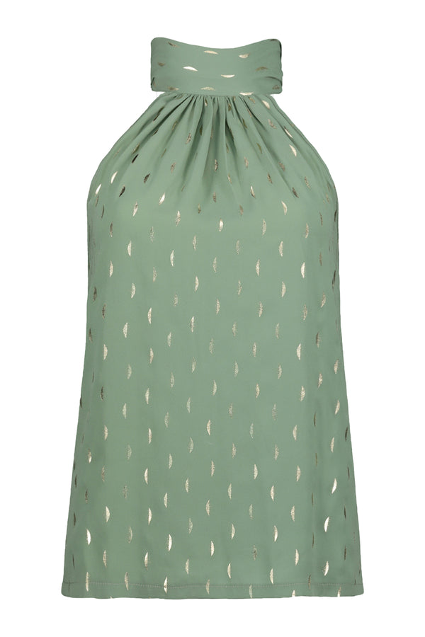Ana Tie Neck Top- Sea Glass Luna Print
