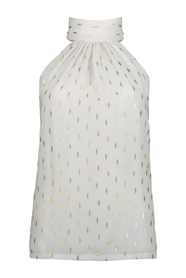 Ana Tie Neck Top- White Luna Print