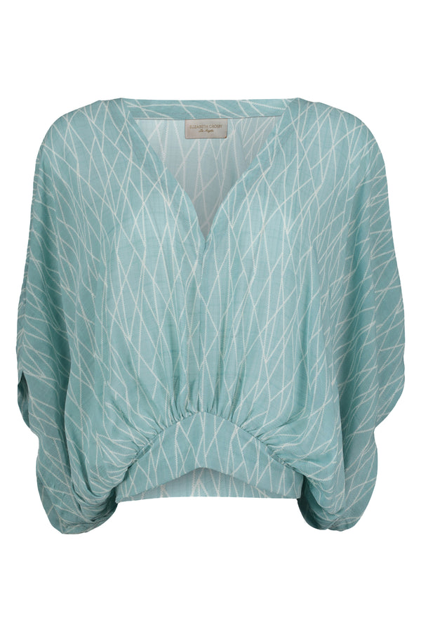 Kelley Dolman Sleeve Blouse- Sea Glass Positano Print