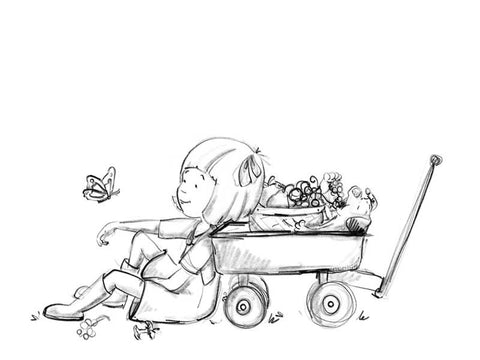 Little girl and puppy with fruit basket and wagon