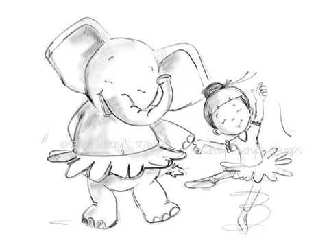Little girl and elephant dancing illustration.