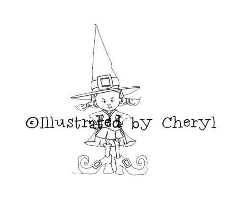 Pigtailed girl with mischievous look on her face dressed up like a witch illustration