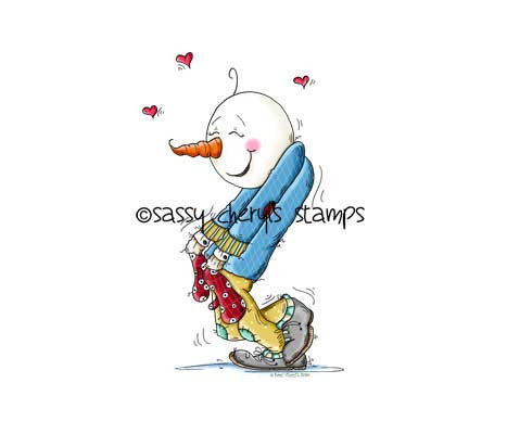 Sweet silly snowman with huge smile on his face, in love illustration