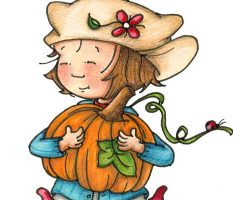 Little girl with a huge smile on her face carrying very big pumpkin illustration