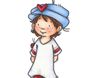 Little girl with freckles wearing an old fashioned hat with a heart on it and a ladybug on her sleeve illustration