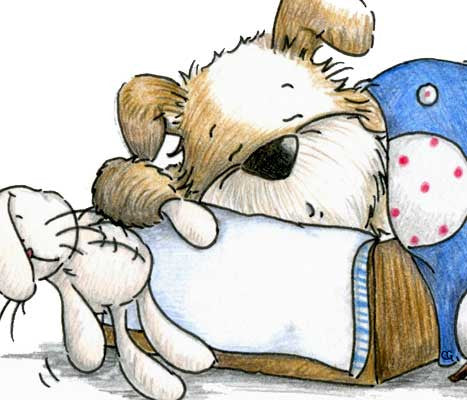 Puppy dog taking a nap in cardboard box with vintage bunny rabbit doll illustration by Sassy Cheryl.