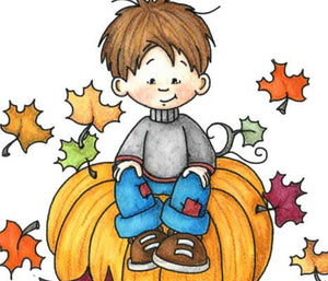 Sweet little boy sitting on oversized pumpkin with fall leaves blowing around him illustration