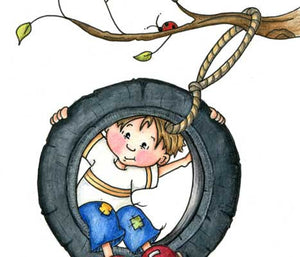 Little boy swinging in tire swing with ladybug above his head illustration
