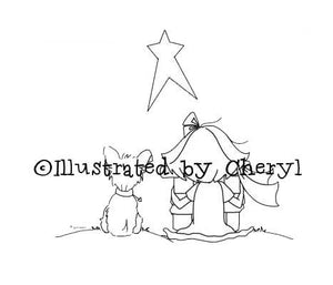Sweet little girl and her adorable puppy dog with gift for baby Jesus digital stamp