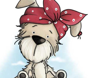 Adorably puppy with headband on illustration by Sassy Cheryl.