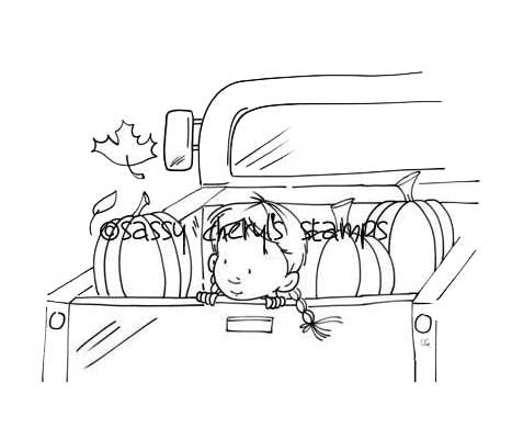 Little girl with braids riding in the back of an old pickup truck in the fall with a load of pumpkins illustration