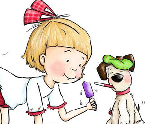Little girl taking care of sick puppy dog illustration by Sassy Cheryl.