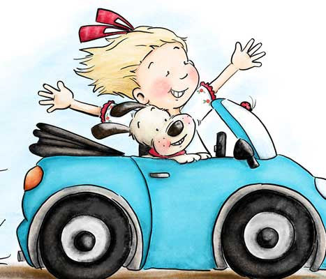 Sweet girl and her puppy riding on the beach in a convertible illustration by Sassy Cheryl.