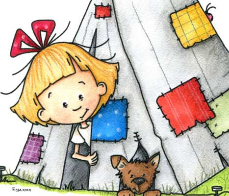 Little girl and her sweet puppy peeking out of a camping tent with patches illustration