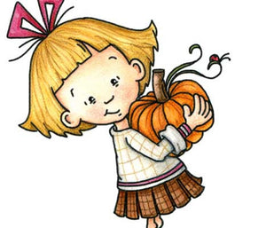 Little girl with pleated skirt carrying a large pumpkin on a chilly fall day illustration