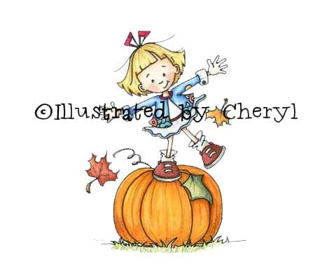 Sweet little girl standing on top of her prize winning pumpkin illustration