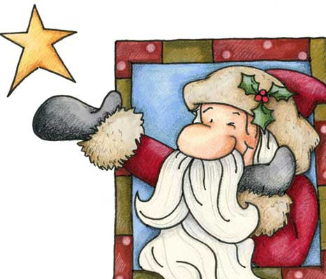 Santa Claus winking and looking up at the stars illustration
