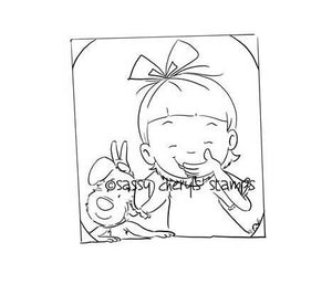 Little girl playing trick on her puppy taking a selfie digital stamp by Sassy Cheryl.