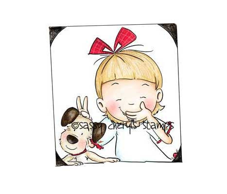 Little girl playing trick on her puppy taking a selfie illustration by Sassy Cheryl.