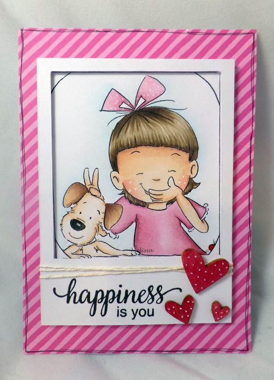 Little girl playing trick on her puppy taking a selfie greeting card example