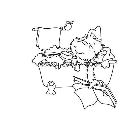 Puppy dog taking a bubble bath in claw foot tub and reading a book digital stamp by Sassy Cheryl.